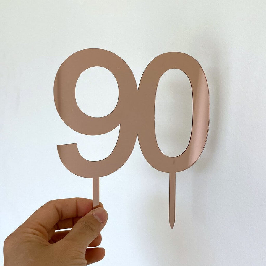 Acrylic Rose Gold Mirror Number 90 Cake Topper