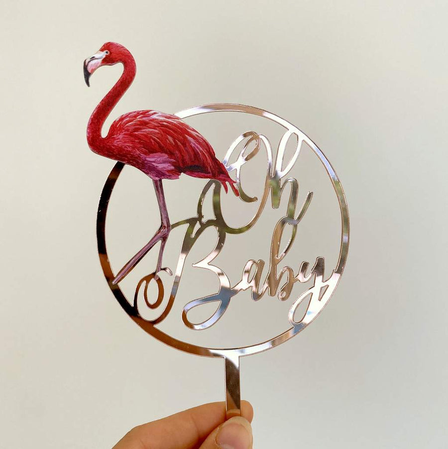 Rose Gold Mirror Acrylic Oh Baby Flamingo Loop Cake Topper - Baby Shower, Gender Reveal Laser Cut Script Cake Topper
