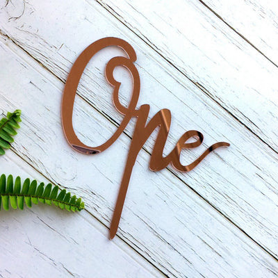 Rose Gold Mirror Acrylic 'One' Birthday Cake Topper - Online Party Supplies