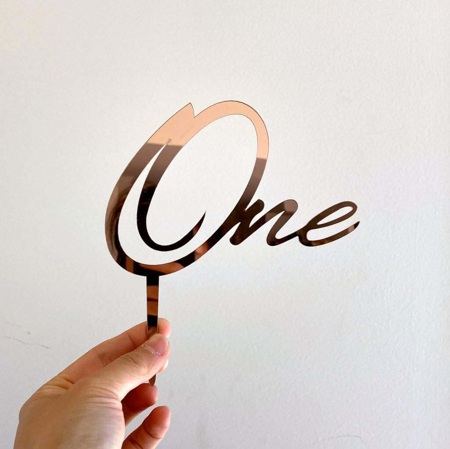 Rose Gold Mirror Acrylic One Script Happy First Birthday Cake TopperRose Gold Mirror Acrylic One Script Happy First Birthday Cake Topper
