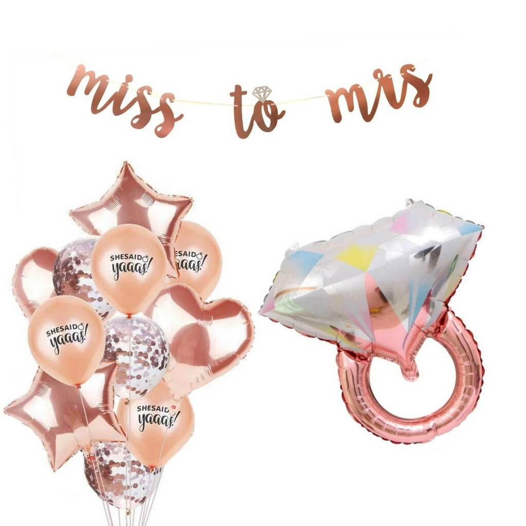 Gold 16 Inch Rose Gold Miss to Mrs Foil Balloons,Rose Gold Confetti Balloons,Latex Balloons,Hearts,Stars,Diamond Ring,30 Count,Wedding,Bachelorette,Bridal Shower,Engagement Party