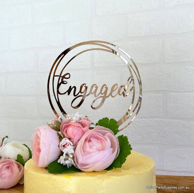 Rose Gold Mirror Acrylic 'Engaged' Geometric Round Cake Topper - Online Party Supplies