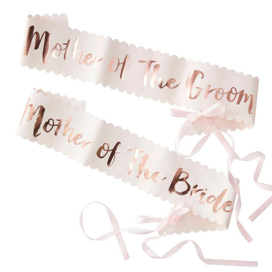 Rose Gold 'Mother Of The Groom' 'Mother Of The Bride' Hen Party Satin Sash - Online Party Supplies