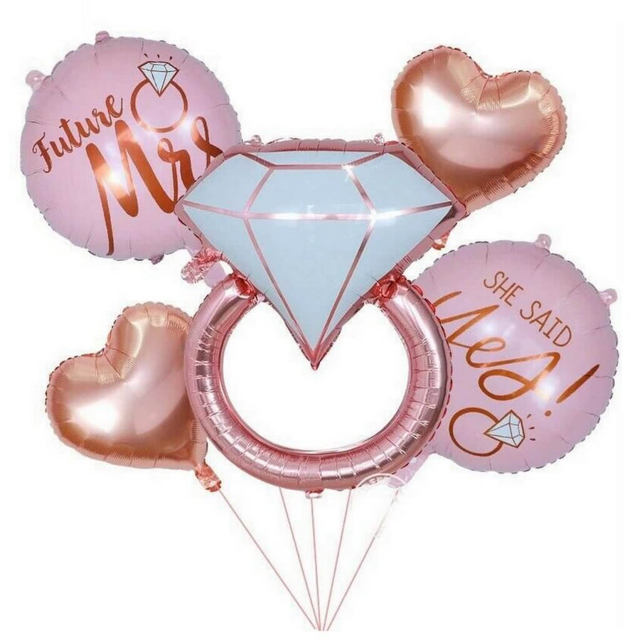 Rose Gold Engagement Ring & Heart Balloon Bouquet - 5 Pieces