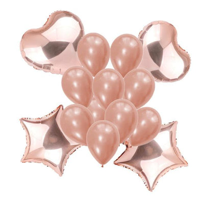 Rose Gold Star Heart Foil & Latex Balloon Bouquet - 14 Pieces - Online Party Supplies