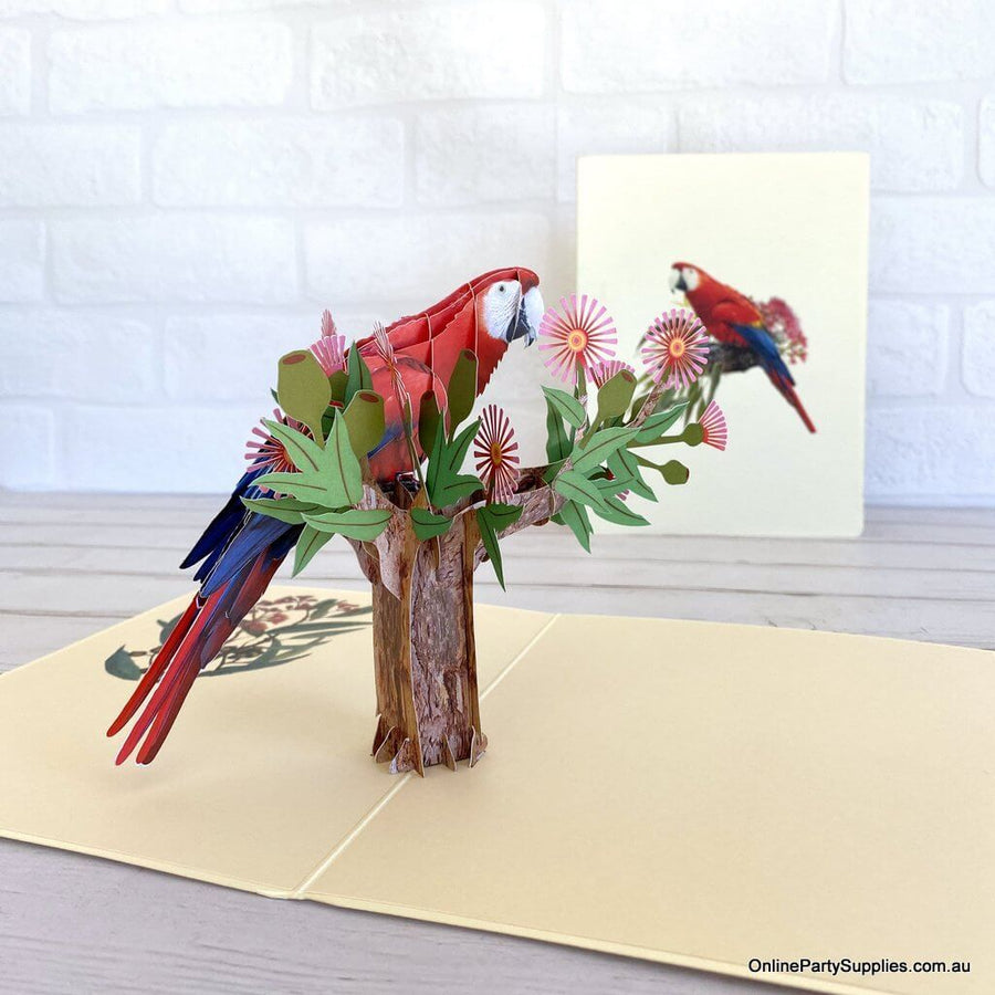 Handmade Rosella Parrot Bird 3D Greeting Card - Australian Native Animal Pop Up Cards