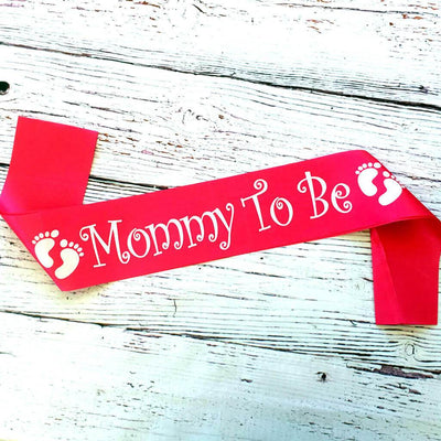 Pink 'Mommy To Be' Footprint Baby Shower Satin Sash - Gender Reveal Party Decorations
