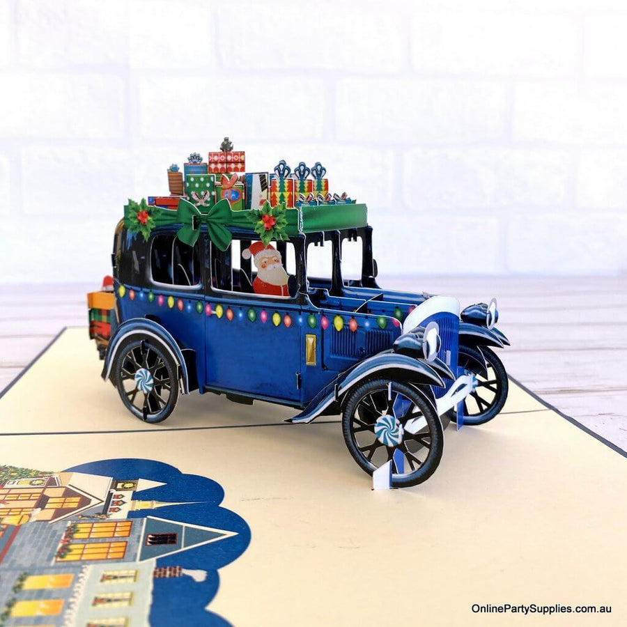 Santa Driving Vintage Blue Car with Xmas Presents Pop Up Card