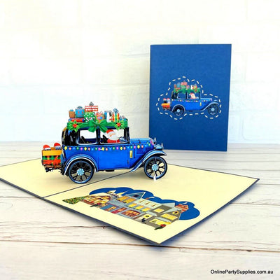 Online Party Supplies Australia Santa Driving Vintage Blue Car with Xmas Presents 3D Pop Up Greeting Card for children