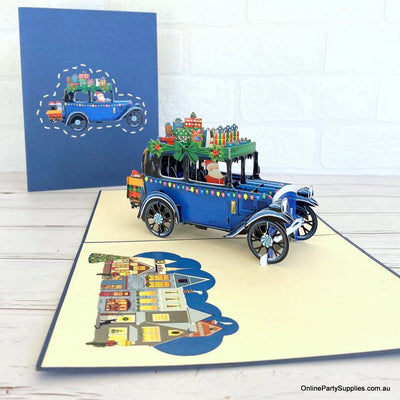 Online Party Supplies Australia Santa Driving Vintage Blue Car with Xmas Presents 3D Pop Up Greeting Card for dad