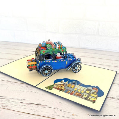 Online Party Supplies Australia Santa Driving Vintage Blue Car with Xmas Presents 3D Pop Up Greeting Card for kids
