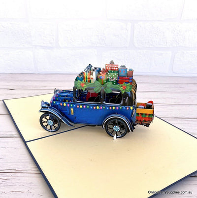 Online Party Supplies Australia Santa Driving Vintage Blue Car with Xmas Presents 3D Pop Up Greeting Card