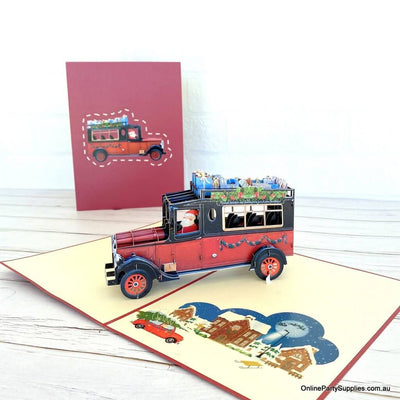 Santa Driving Vintage Red Car with Xmas Presents 3D Pop Up Greeting Card for children