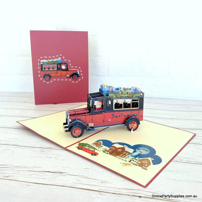 Santa Driving Vintage Red Car with Xmas Presents 3D Pop Up Greeting Card for him
