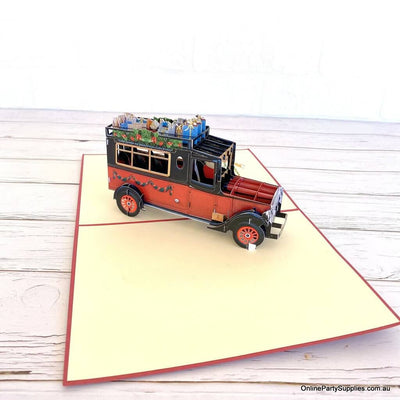 Santa Driving Vintage Red Car with Xmas Presents 3D Pop Up Greeting Card for dad