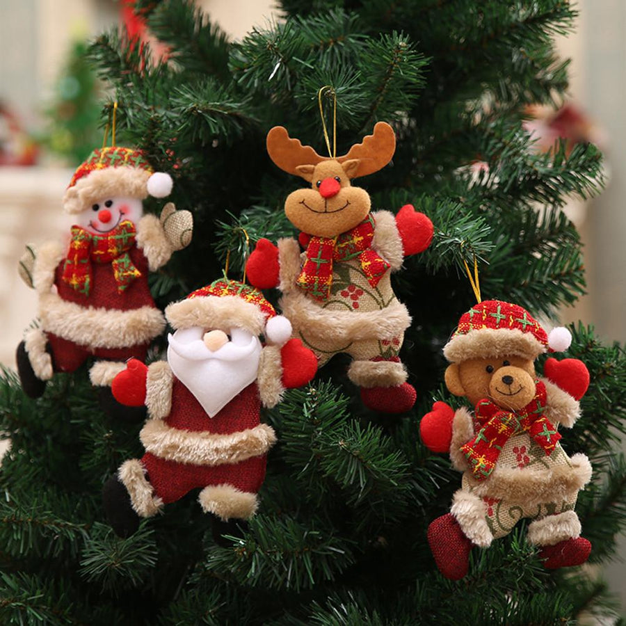Santa Claus, Snowman, Elk, Bear Christmas Tree Hanging Decorations