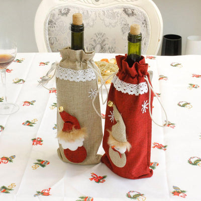 Santa Snowman with Faux Fur Hat Christmas Wine Bottle Cover - Online Party Supplies