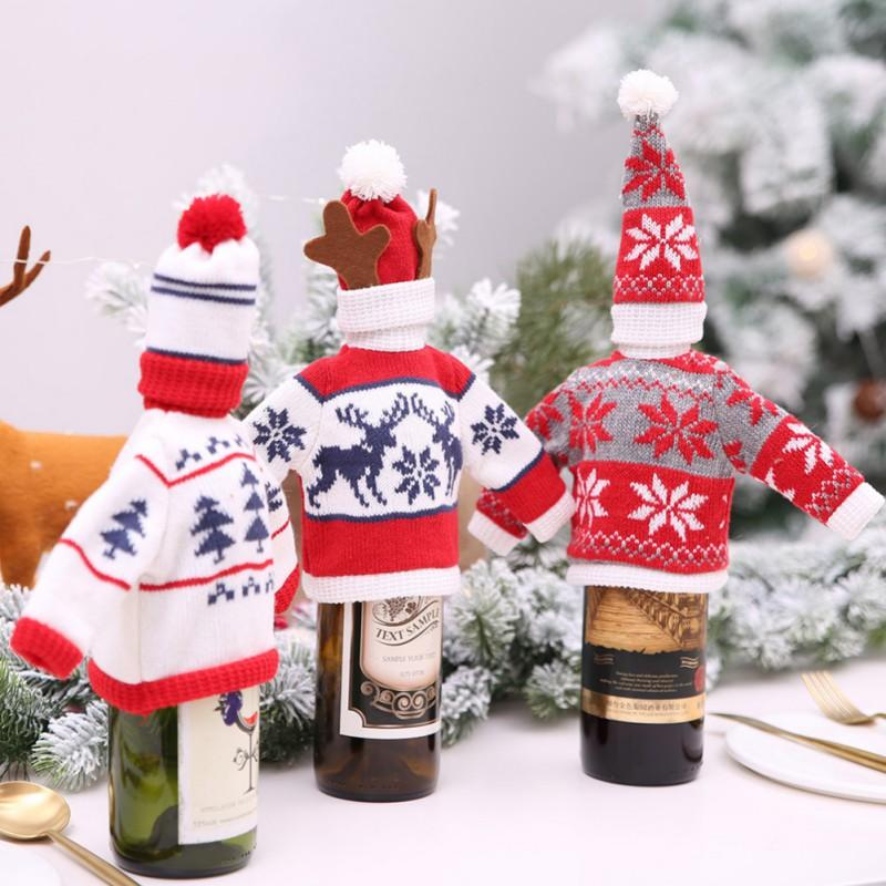Scandinavian Christmas Woolen Wine Bottle Cover Sweater with Hat Set