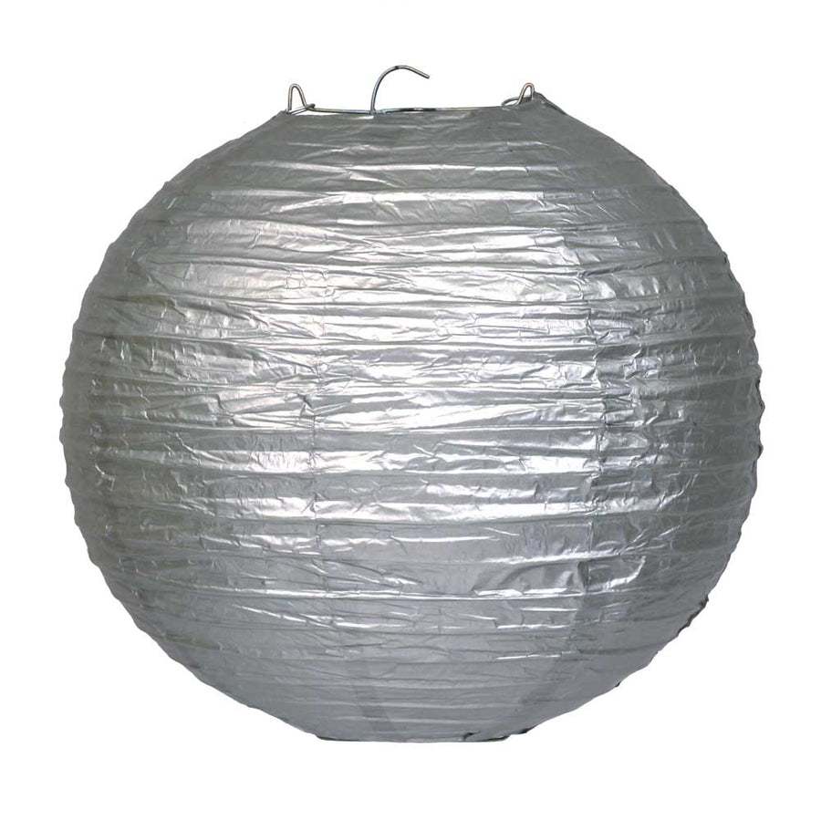 Metallic Silver Chinese Paper Lantern - 4 Sizes