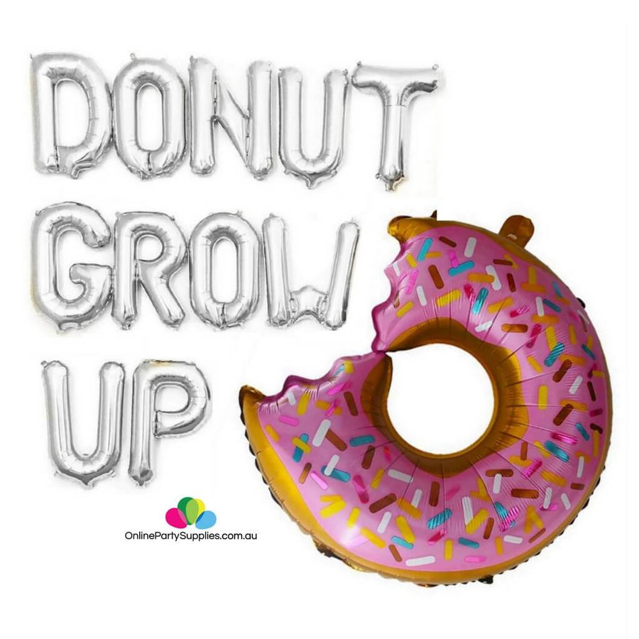 DONUT GROW UP with Giant Sprinkle Donut Foil Balloon Banner - Silver