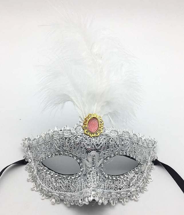 Elegant Tall Feather Lace Masquerade Mask for Women - Silver