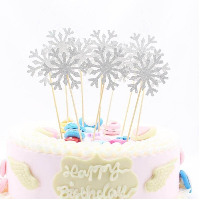 Silver Glitter Snowflake Paper Cupcake Topper 10 Pack