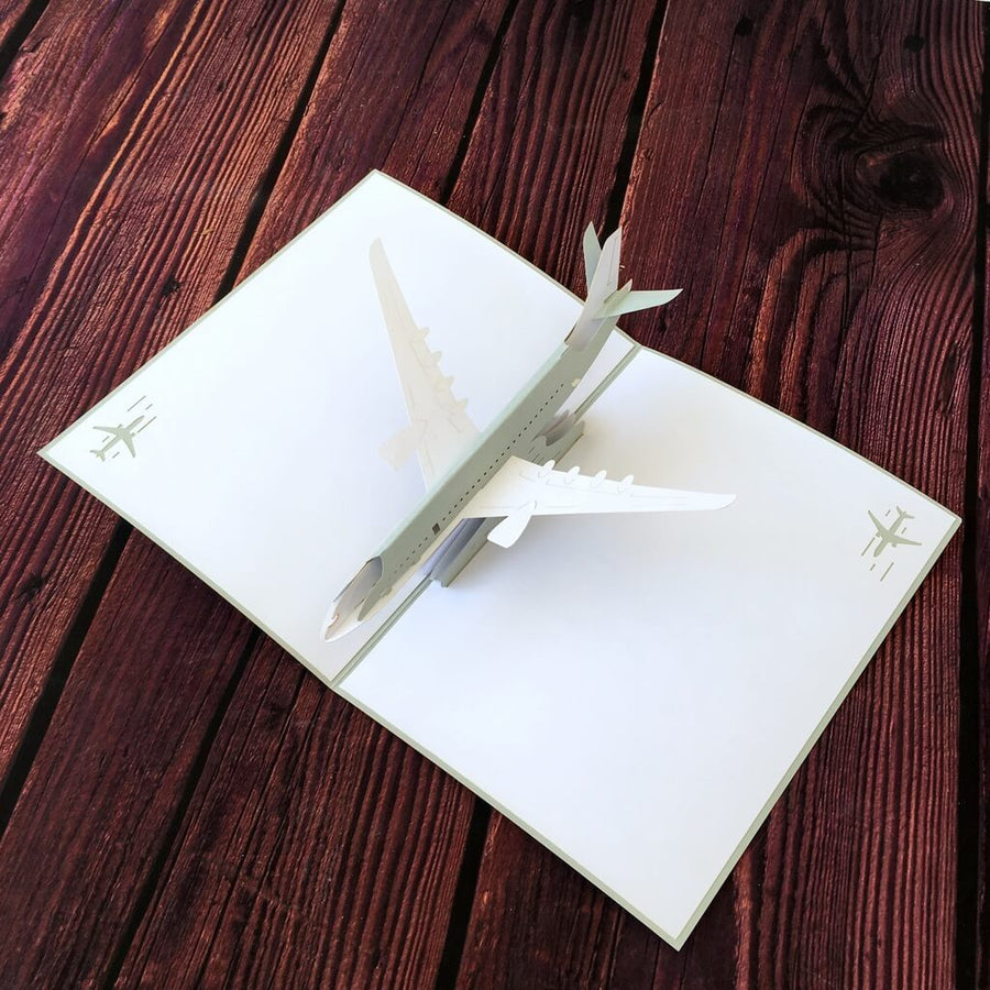 Handmade Grey Airplane 3D Pop Up Greeting Card