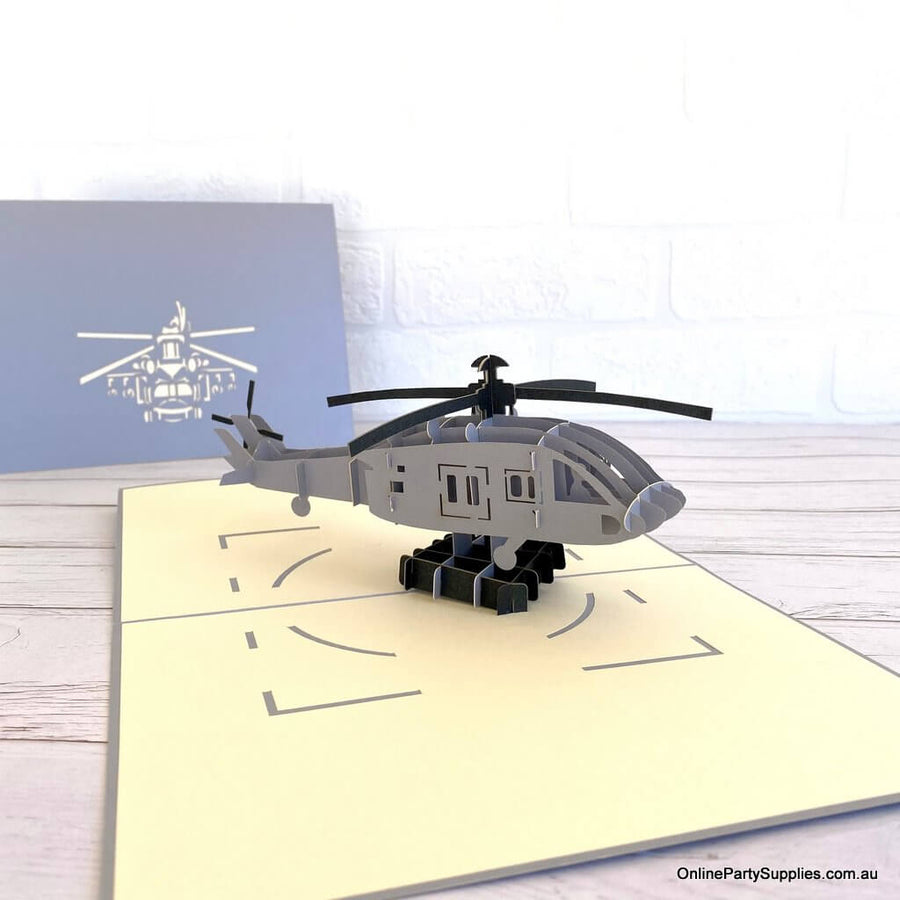Handmade Grey Helicopter 3D Pop Up Greeting Card - Pop Up Transportation Card