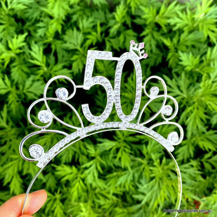 Silver Metal Rhinestone Happy 50th Birthday Tiara