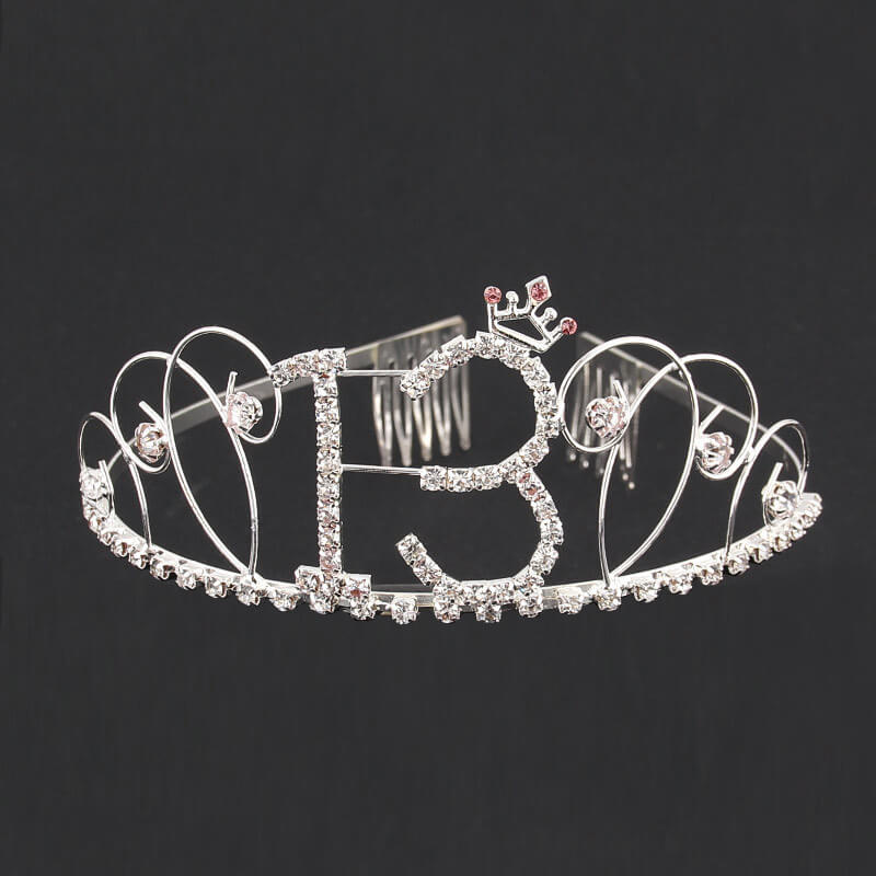 Premium Quality Metal Silver Rhinestone with Crown 13th Birthday Tiara - 13th Birthday Party Decorations