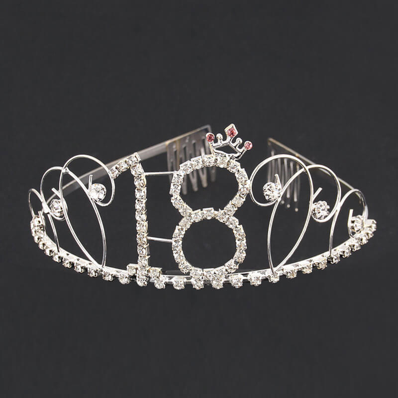 Silver Metal Rhinestone 18 Princess Crown Tiara