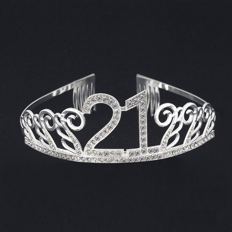 Premium Quality Silver Metal Rhinestone 21st Birthday Tiara - Twenty One Birthday Party Decorations