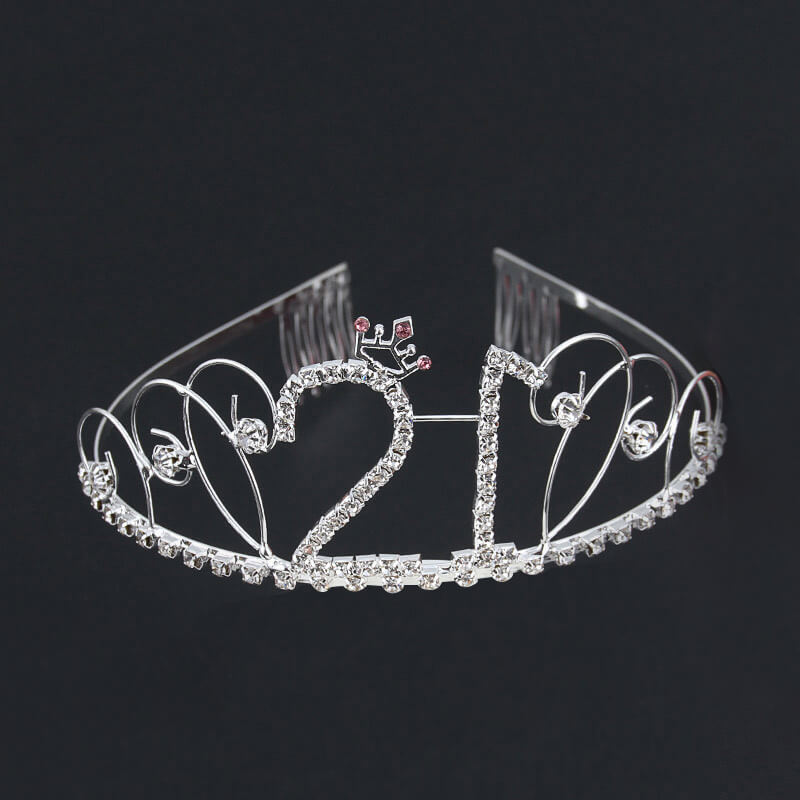 Premium Quality Silver Metal Rhinestone 21st Birthday Princess Crown Tiara