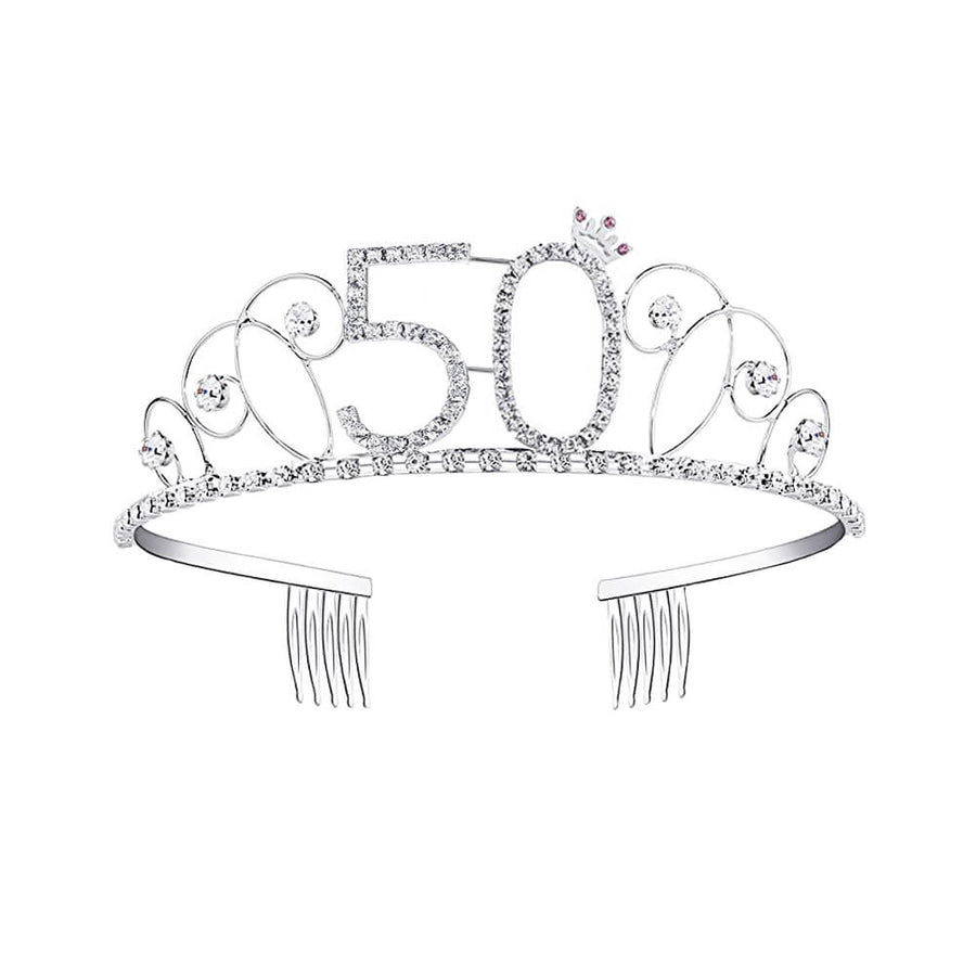 Silver Metal Rhinestone 50th Birthday Princess Crown Tiara