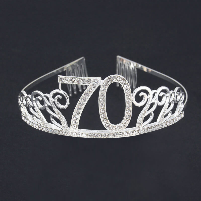 Premium Quality Silver Metal Rhinestone 70th Birthday Tiara - 70th Birthday Party Decorations