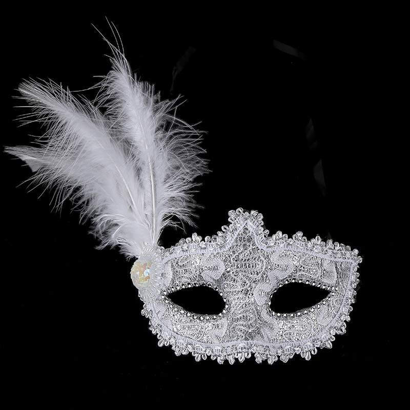 Glitter Lace Tall Feather Masquerade Mask for Women - Party Costumes and Accessories
