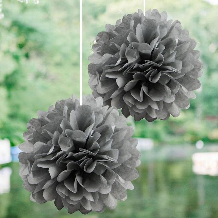 Party Decorations Tissue Paper Pom Poms - Silver