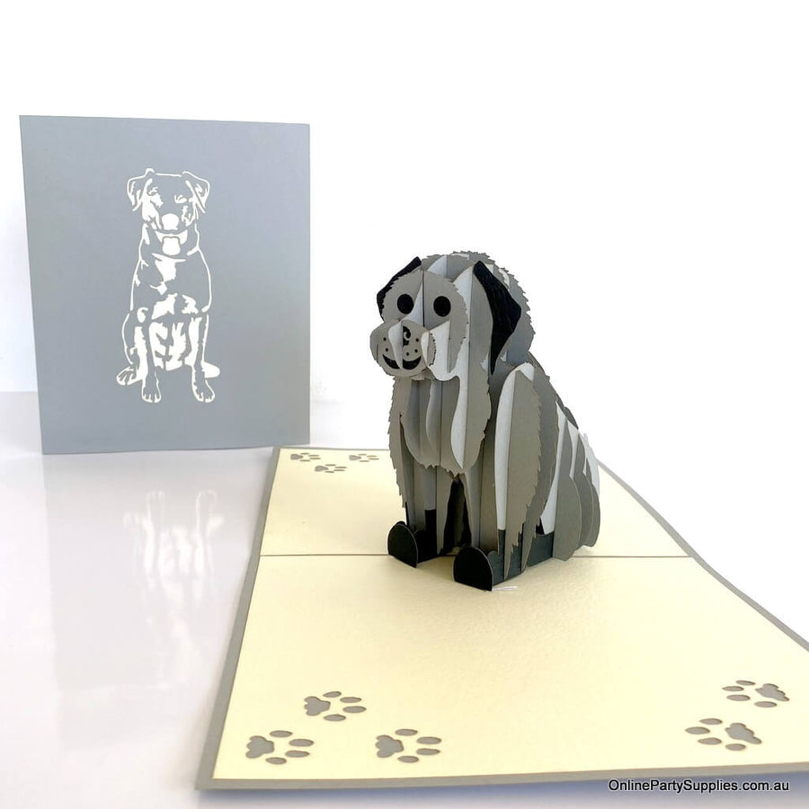 Handmade Cute Sitting Grey Puppy Dog 3D Pop Up Card - 3D Animal Cards