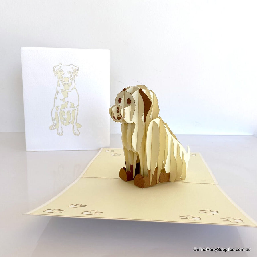 Handmade Cute Sitting White Puppy Dog 3D Pop Up Card - 3D Animal Cards