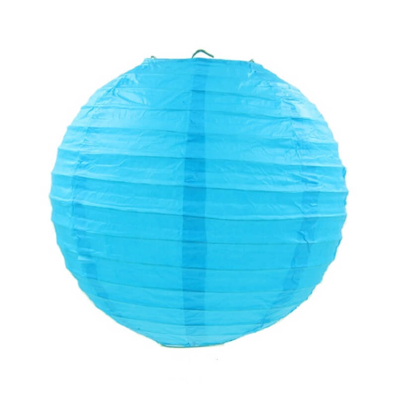 Sky Blue Round Chinese Paper Lantern - 4 Sizes