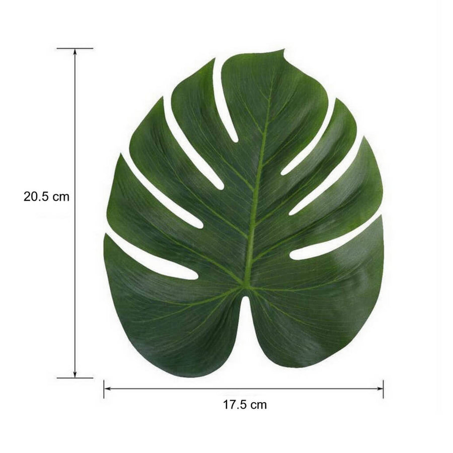 Medium Tropical Artificial Monstera Leaves for Hawaiian Luau Party Decor (Pack of 10)