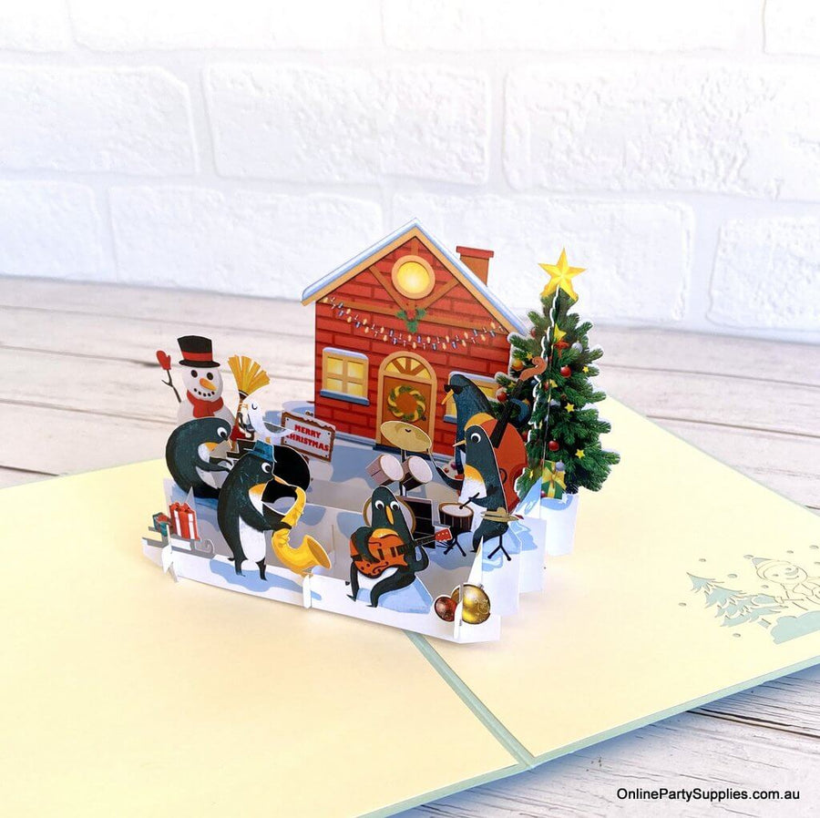 Online Party Supplies Australia Snowman & Penguin Rockin' Around Christmas Tree 3D Pop Up Card