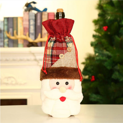 Snowman Santa Moose Christmas Wine Bottle Cover - Online Party Supplies