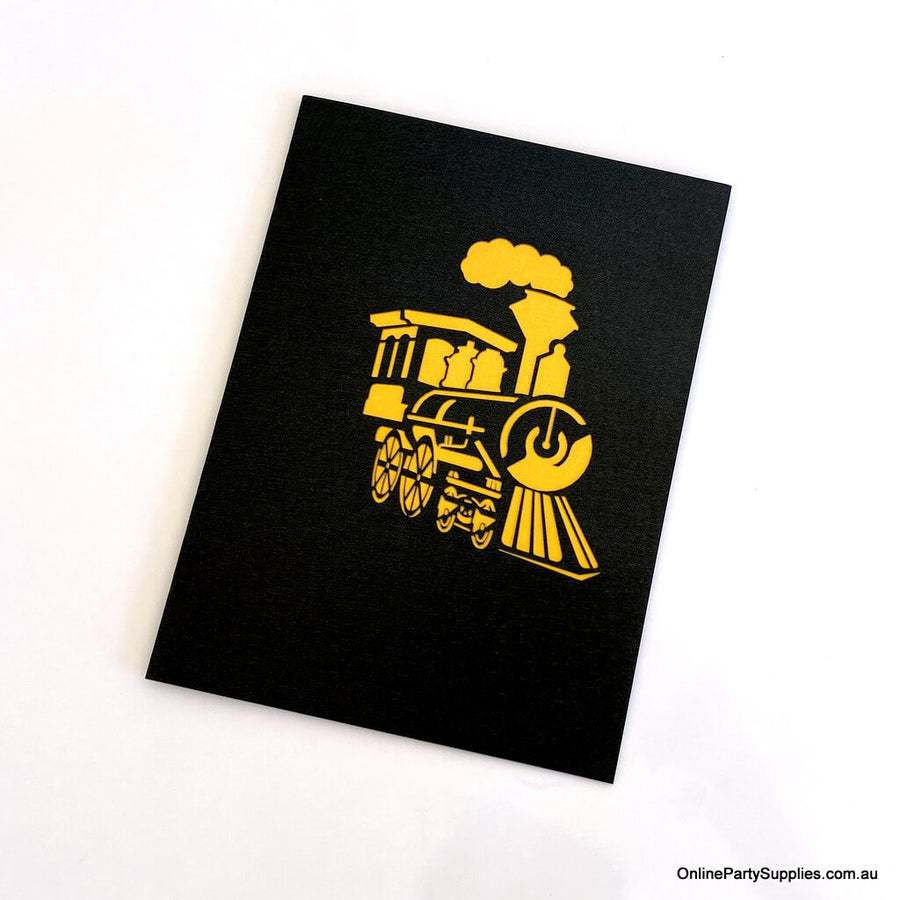 Handmade Gold & Black Steam Locomotive Pop Up Greeting Card - Pop Up Vehicle Cards