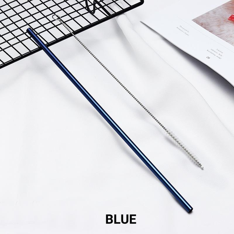 Straight Blue Stainless Steel Drinking Straw 210mm x 6mm - Online Party Supplies