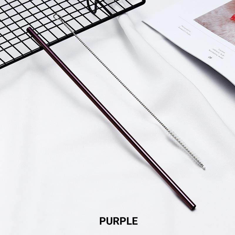 Straight Purple Stainless Steel Drinking Straw 210mm x 6mm - Online Party Supplies