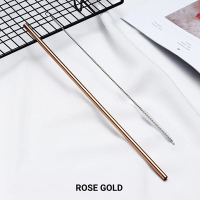 Straight Rose Gold Stainless Steel Drinking Straw 210mm x 6mm - Online Party Supplies
