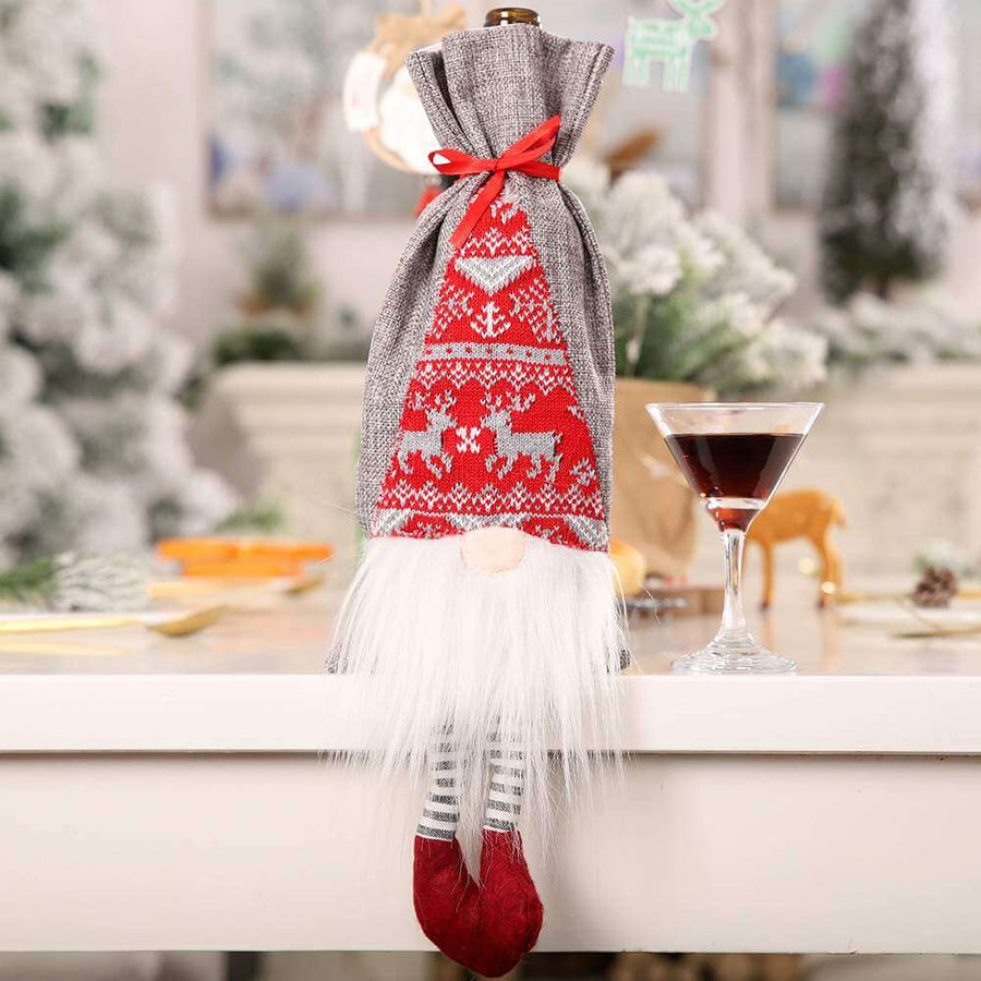 Scandinavian Faceless Gnome Christmas Wine Bottle Cover