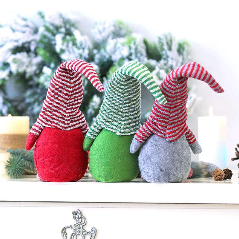 Stuffed Scandinavian Faceless Christmas Gnome Doll Shelf Sitter