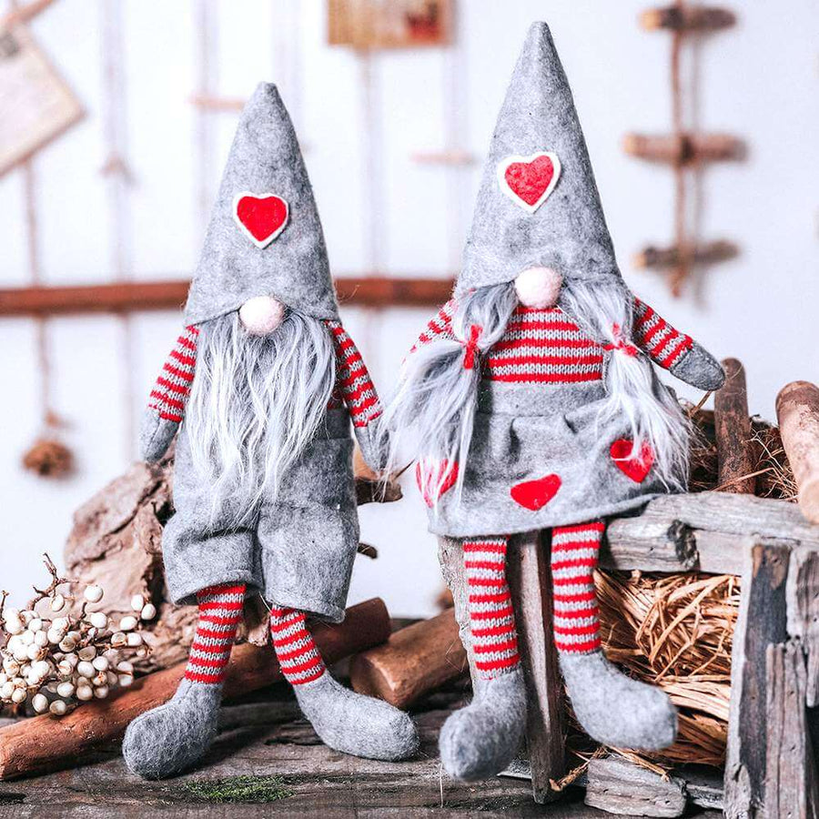 Stuffed Faceless Christmas Gnome in Dress - Grey